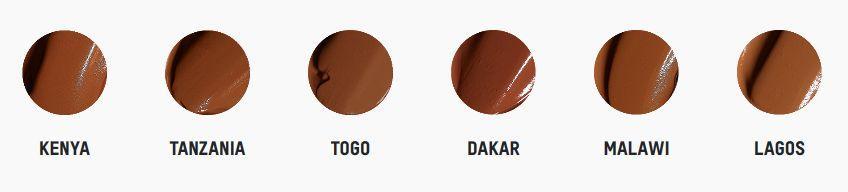 Tonos para piel muy oscura de la base