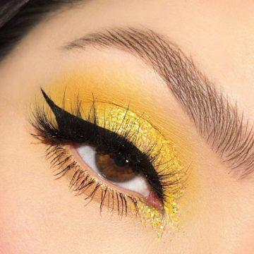 Maquillaje de ojo amarillo por @whitneykshepherd