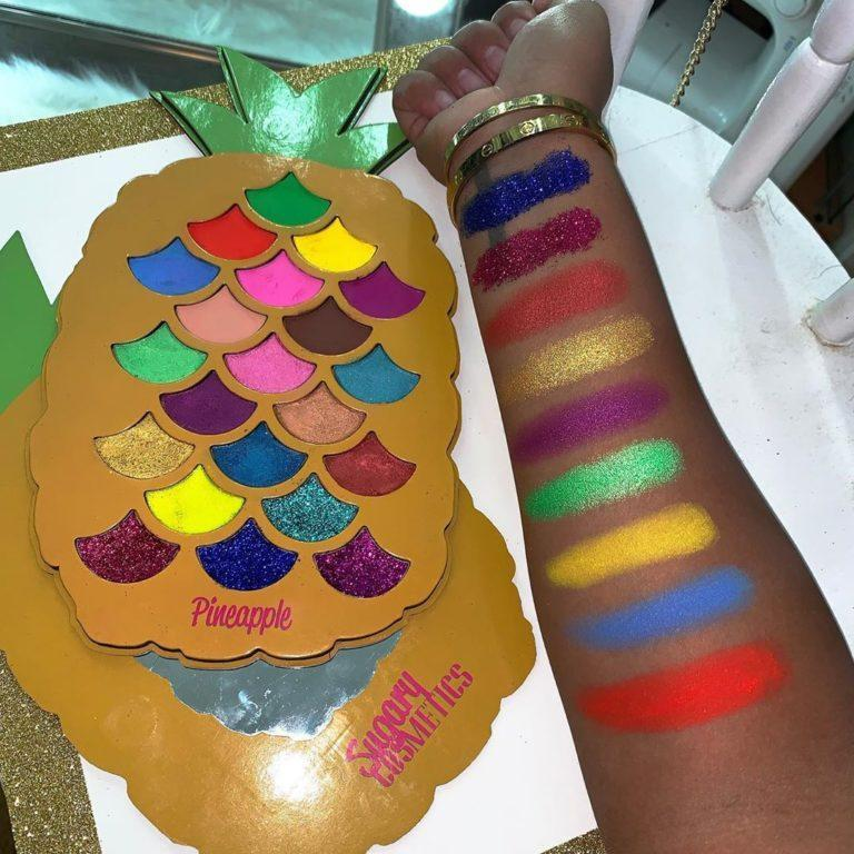 Paleta Pineapple de Sugary Cosmetics swatches