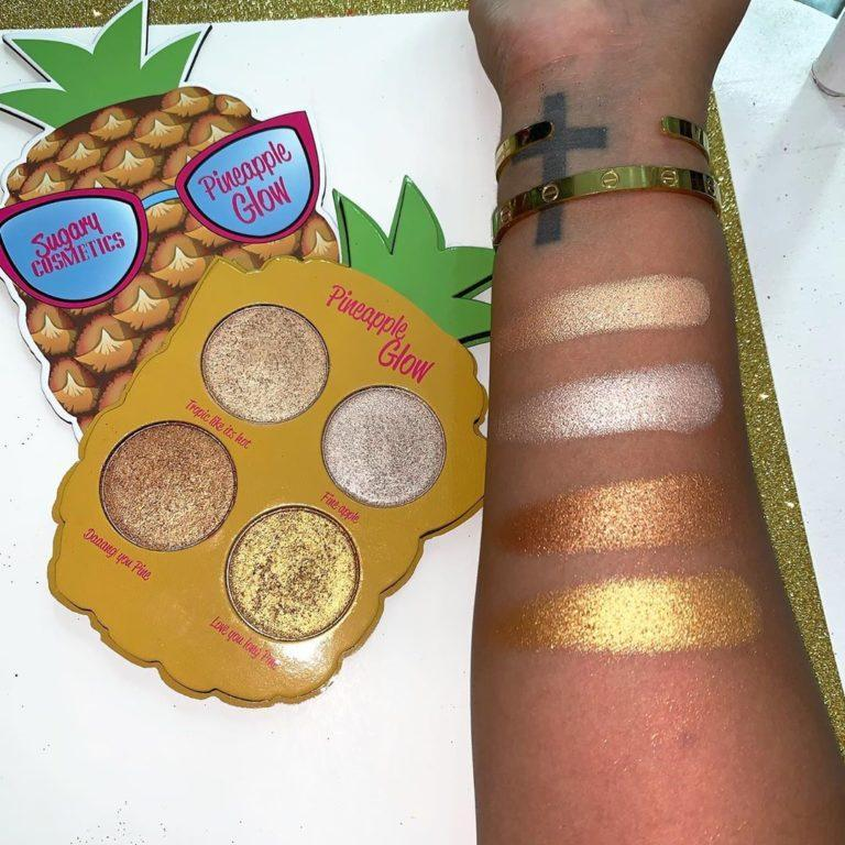 Paleta Pineapple de iluminadores de Sugary Cosmetics swatches