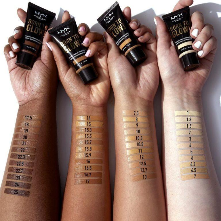 Born To Glow Naturally Radiant Foundation Swatches