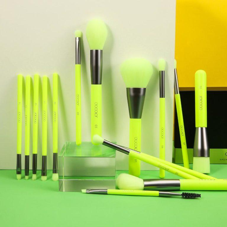 DOCOLOR Neon Green 15 Pieces Syenthetic Brush Set