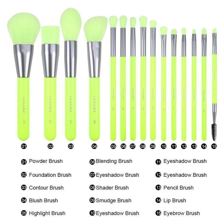 DOCOLOR Neon Green 15 Pieces Syenthetic Brush Set Details