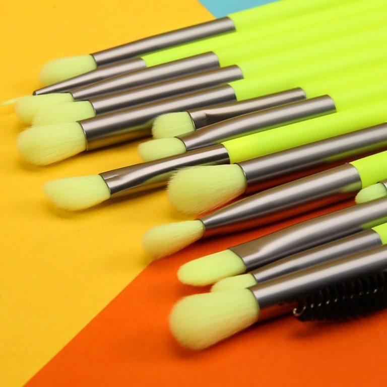 DOCOLOR Neon Green 15 Pieces eye Brush Set