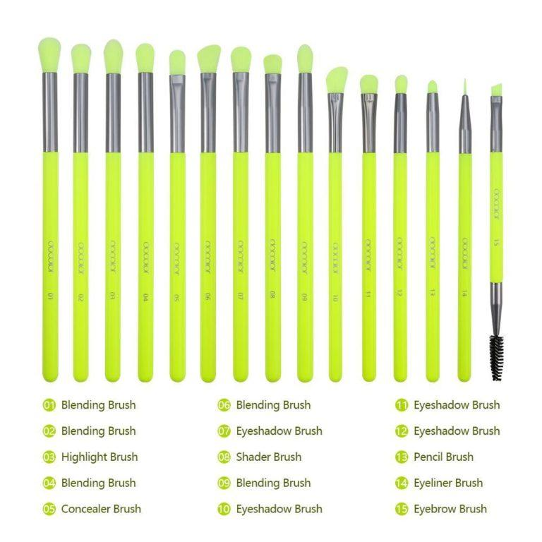 DOCOLOR Neon Green 15 Pieces eye Brush Set Details