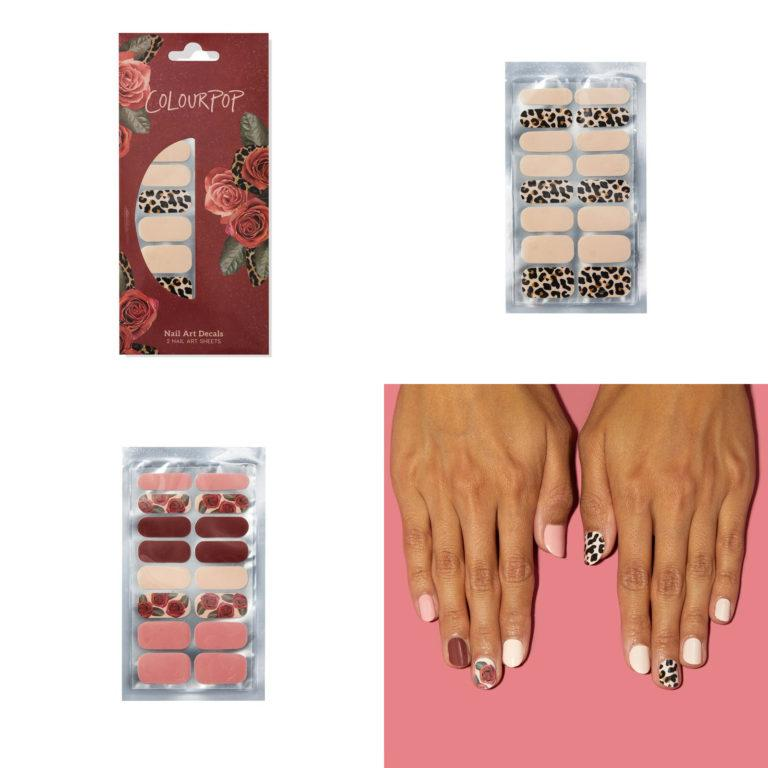 Colourpop Nail Art Decals Nude Leopard + Pink Rose Set