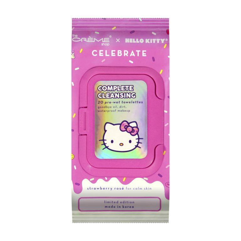 The Crème Shop x Hello Kitty Complete Cleansing 20 pre wet towelettes Goodbye oil, dirt, waterproof makeup Front