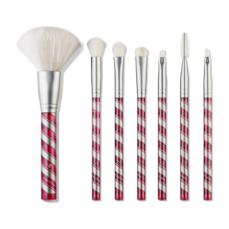 e.l.f. Holiday 2019 Gift Sets Candy Cane 7 Piece Face & Eye Brush Set Open