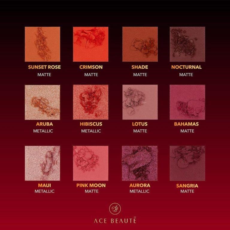 Ace Beaute Scarlet Dusk Eyeshadow Palette Crash Swatches