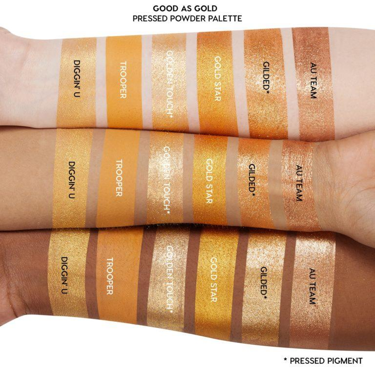 Colourpop Cosmetics Solid Gold Collection Good as Gold Eyeshadow Palette Arm Swatches 1