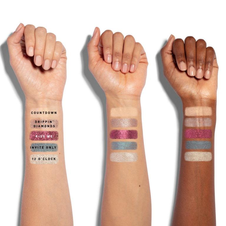 Morphe Dare To Dazzle New Year's Eve Collection 10M Midnight Gleamin' Artistry Palette Arm Swatches Row 1