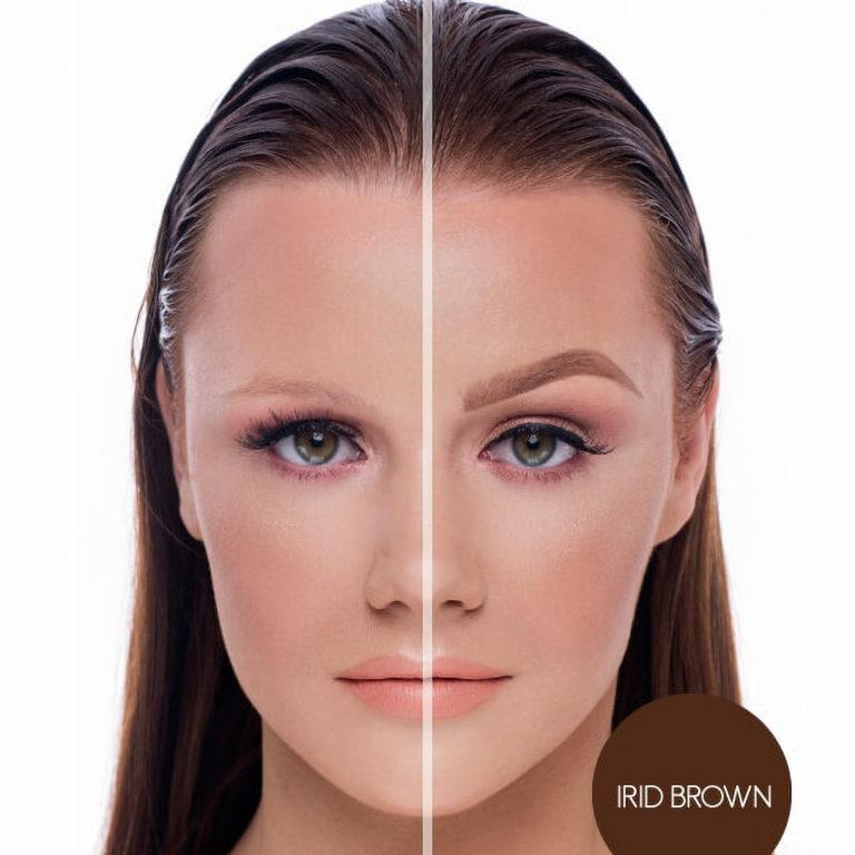 BPerfect Cosmetics Indestructi'Brow Pencil Before & After Irid Brown