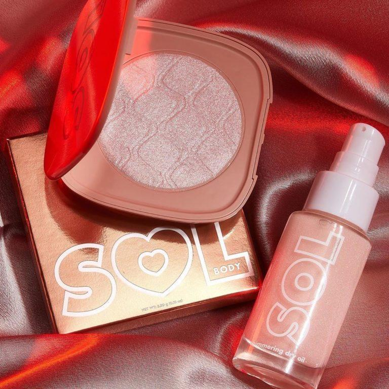 Colourpop Head of Heels Collection Sol Body Highlighter & Mini Shimmering Dry Oil in Soft Pink
