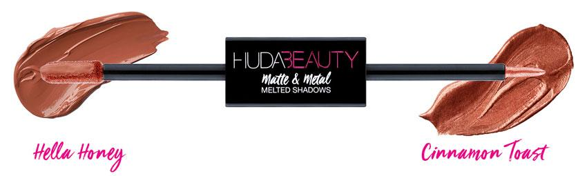 Huda Beauty Matte & Metal Melted Double Ended Eyeshadows Cinnamon Toast & Hella Honey