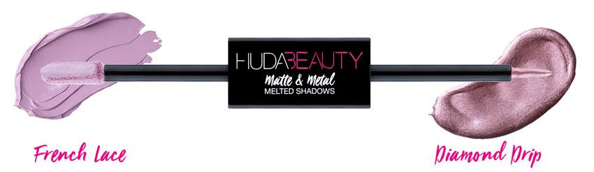 Huda Beauty Matte & Metal Melted Double Ended Eyeshadows French Lace & Diamond Drip