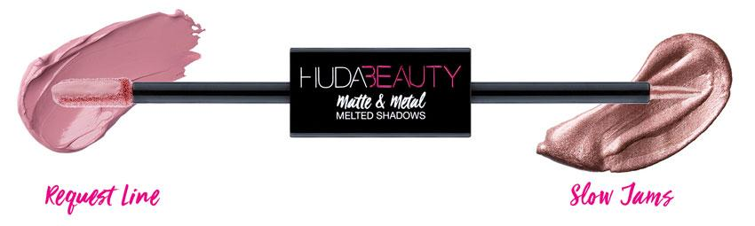 Huda Beauty Matte & Metal Melted Double Ended Eyeshadows Request Line & Slow Jams