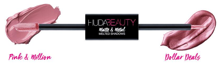 Huda Beauty Matte & Metal Melted Double Ended Eyeshadows V.I.Pink & Million Dollar Deals