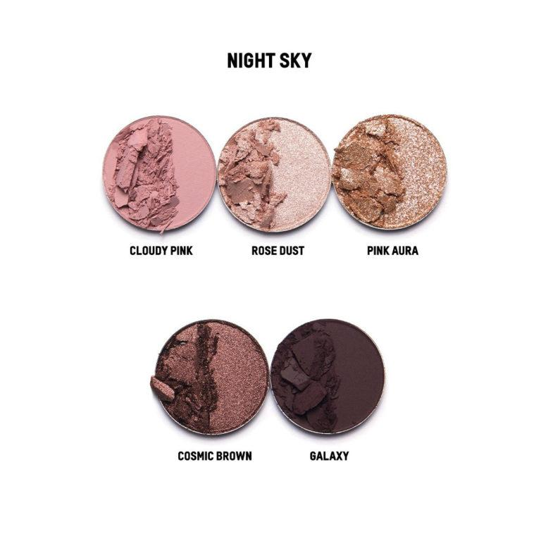 KKW Beauty Celestial Skies Collection Eyeshadow Palette Night Sky Shade names