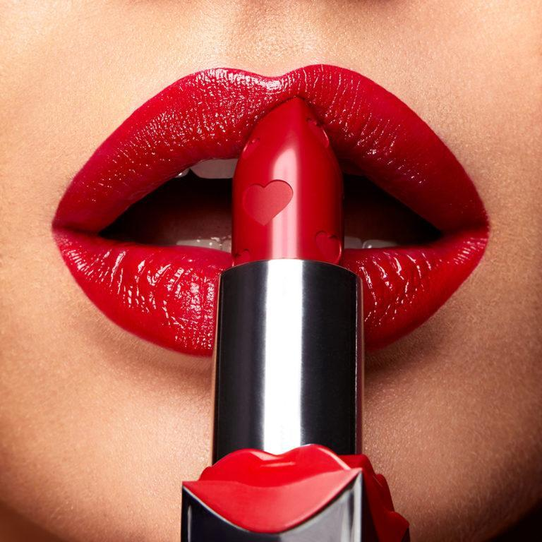Kiko Milano Magnetic Attraction Collection Ready To Kiss Lipstick Red shade Lip Swatch