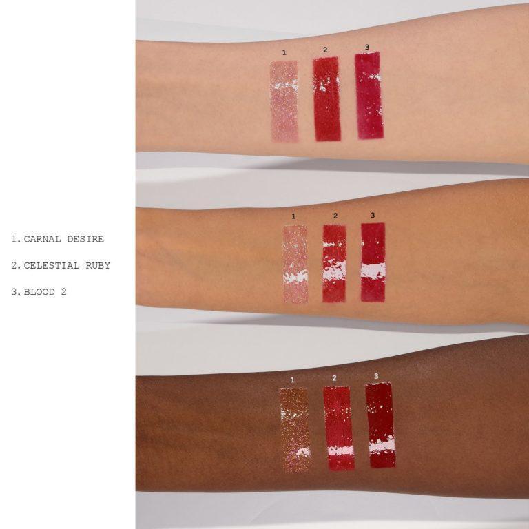 Pat McGrath Labs Mini Lip Gloss Trio Red Opulnece Swatches