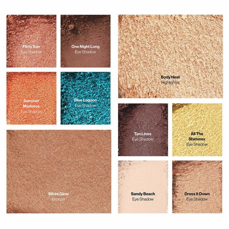 Revlon x Ashley Graham Tropical Vibes Collection All in One Eye and Face Palette Shades Crash Swatches