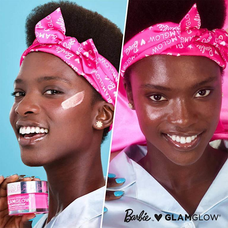 Barbie™ x GLAMGLOW® Limited Edition GLOWSTARTER® Mega Illuminating Moisturizer Before & After