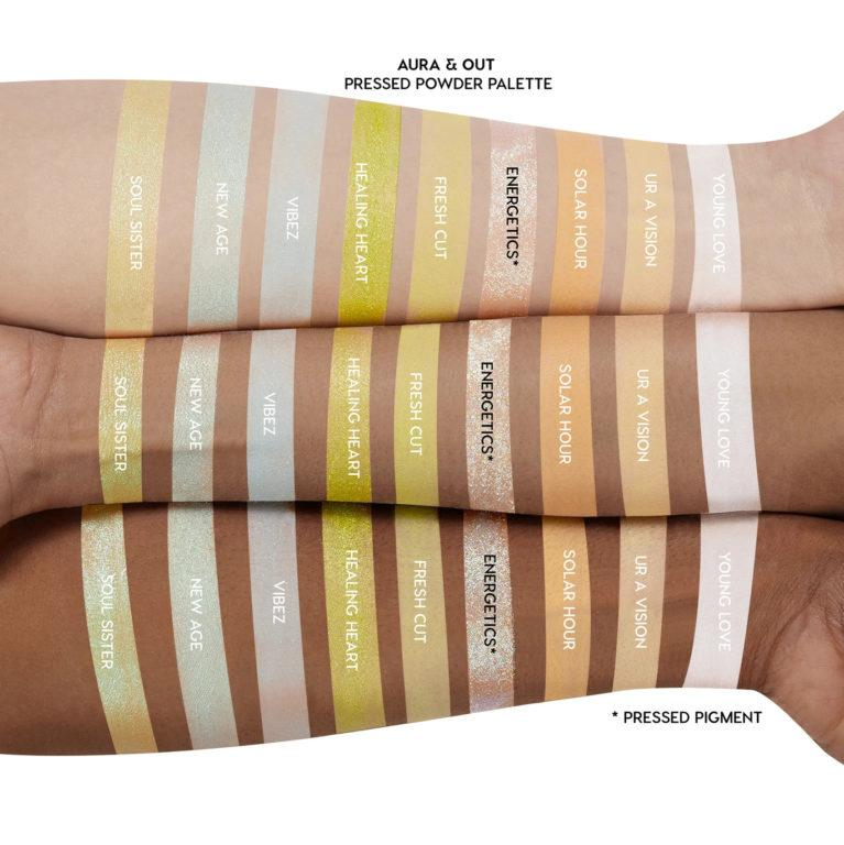 Colourpop Tie Dye Collection Eyeshadow Palette In Aura & Out Arm Swatches