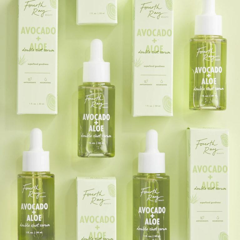Fourth Ray Beauty Avocado + Aloe Double Shot Face Serum Closed & Boxes