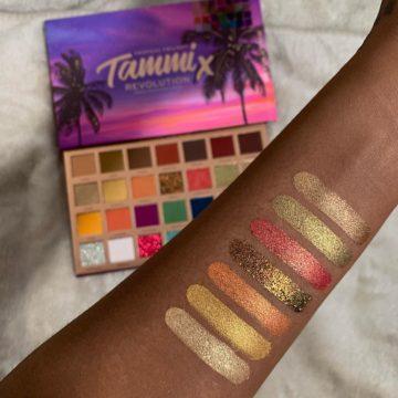 Makeup Revolution X Tammi Tropical Twilight Eyeshadow Palette Arm Swatches Row 2