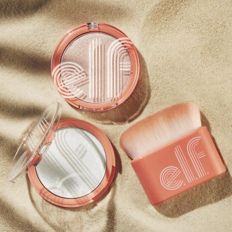 e.l.f. Cosmetics Retro Paradise Multi Dimensional Face & Body Shimmer and Glow Up Body Brush Promo