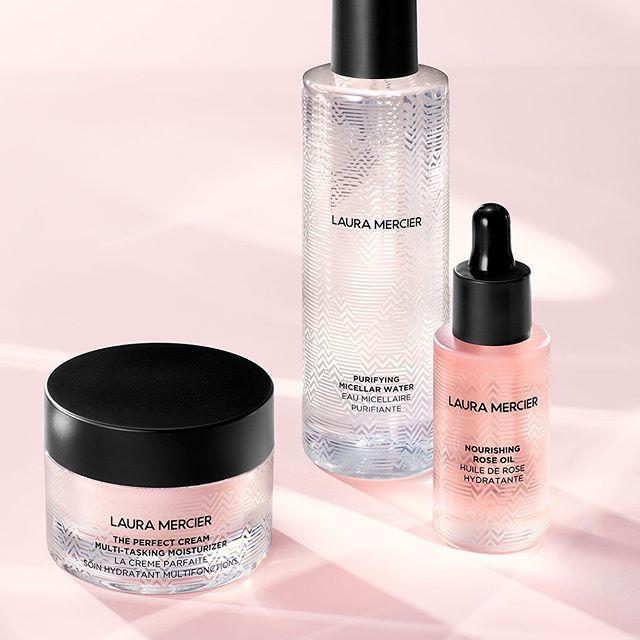 Laura Mercier Skin Essentials Collection The Perfect Cream Multi Tasking Moisturizer, Nourishing Rose Oil & Purifying Micellar Water Promo