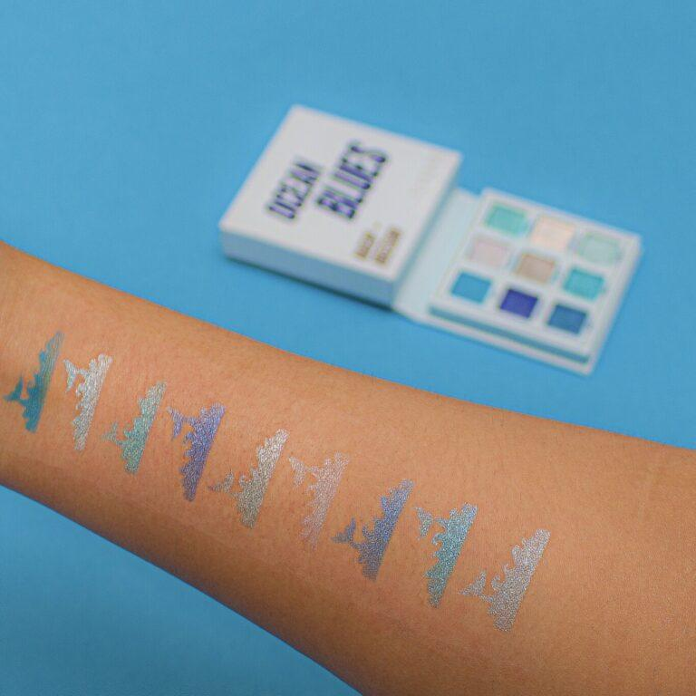 Makeup Obsession Ocean Blues Eyeshadow Palette Arm Swatches