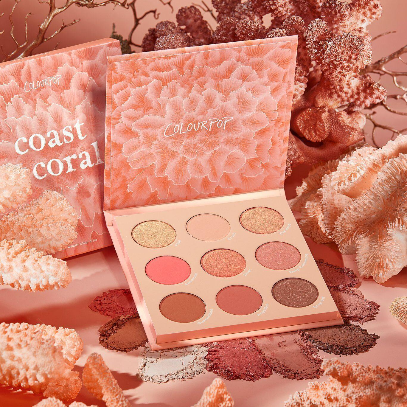 Colourpop Coast To Coral Collection Coast To Coral Shadow Palette Promo