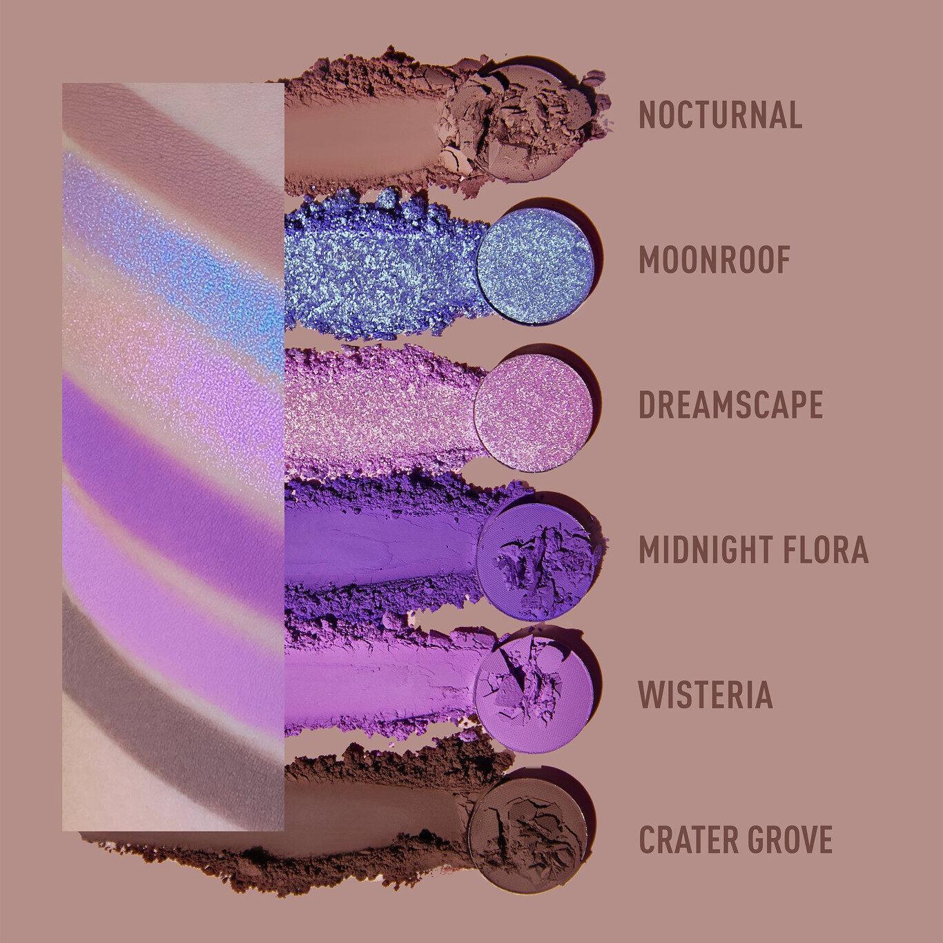 Kaleidos Makeup The Fresh Fantasy Collection Futurism VI Lunar Lavender Eyeshadow Palette Arm & Crash Swatches