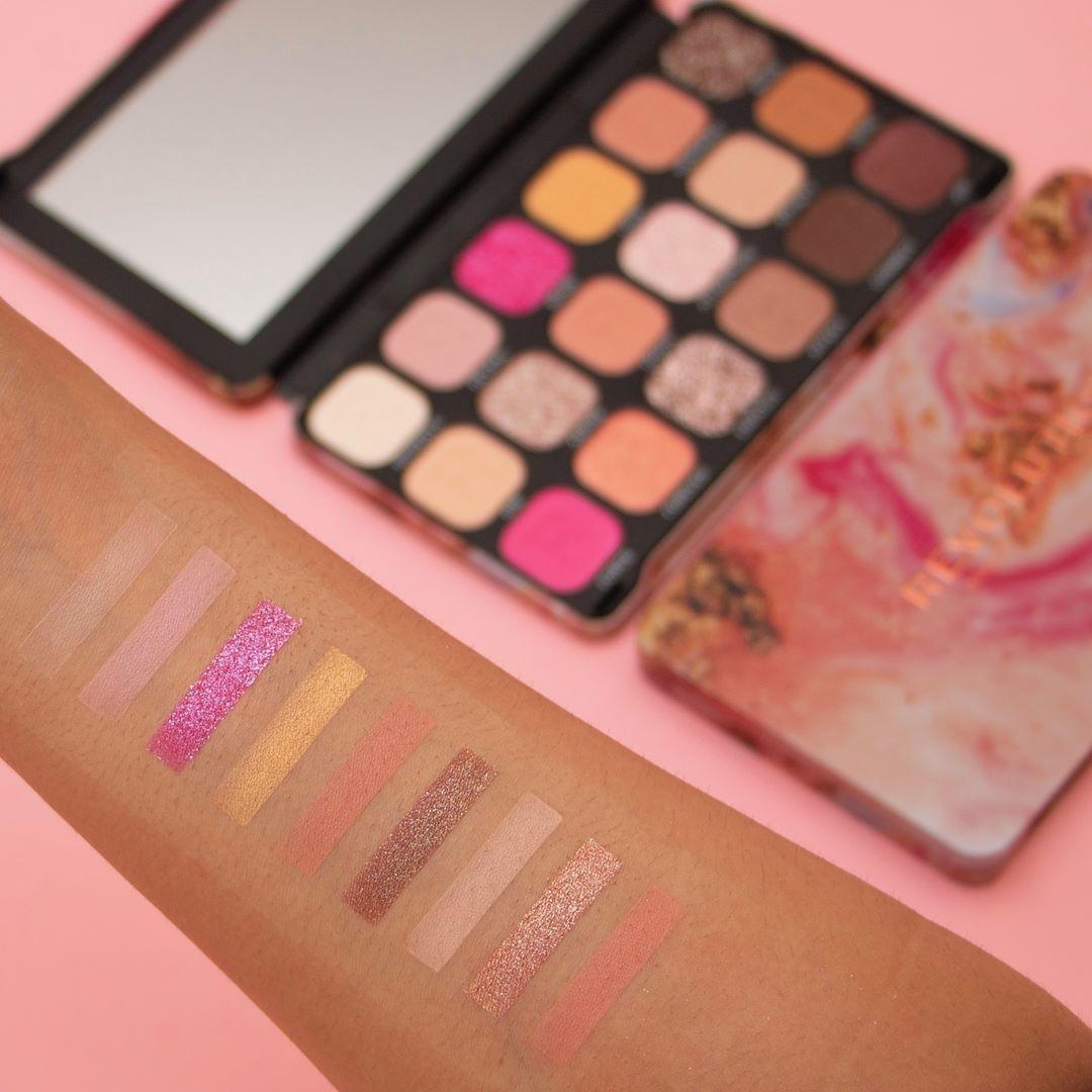 Makeup Revolution Forever Flawless Affinity Eyeshadow Palette Arm Swatches Light 1