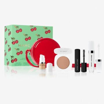 Marc Jacobs Very Merry Cherry Collection Oui Mon Cherry Full Size Lip Oil And Mini Favorites Set With Bag