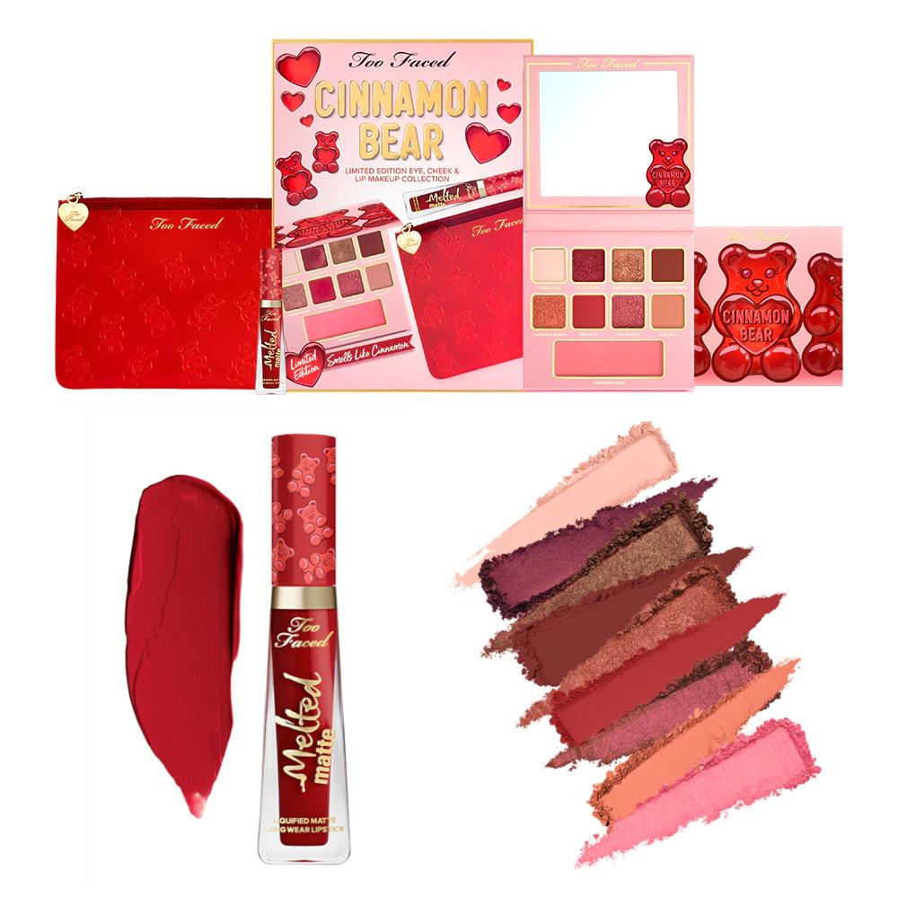Too Faced Holiday 2020 Collection Part 1 Cinnamon Bear Makeup Set Collage