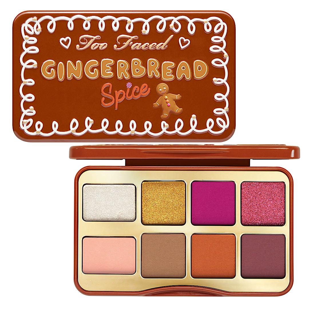 Too Faced Holiday 2020 Collection Part 1 Gingerbread Spice Mini Eye Shadow Palette Semi Open & Closed