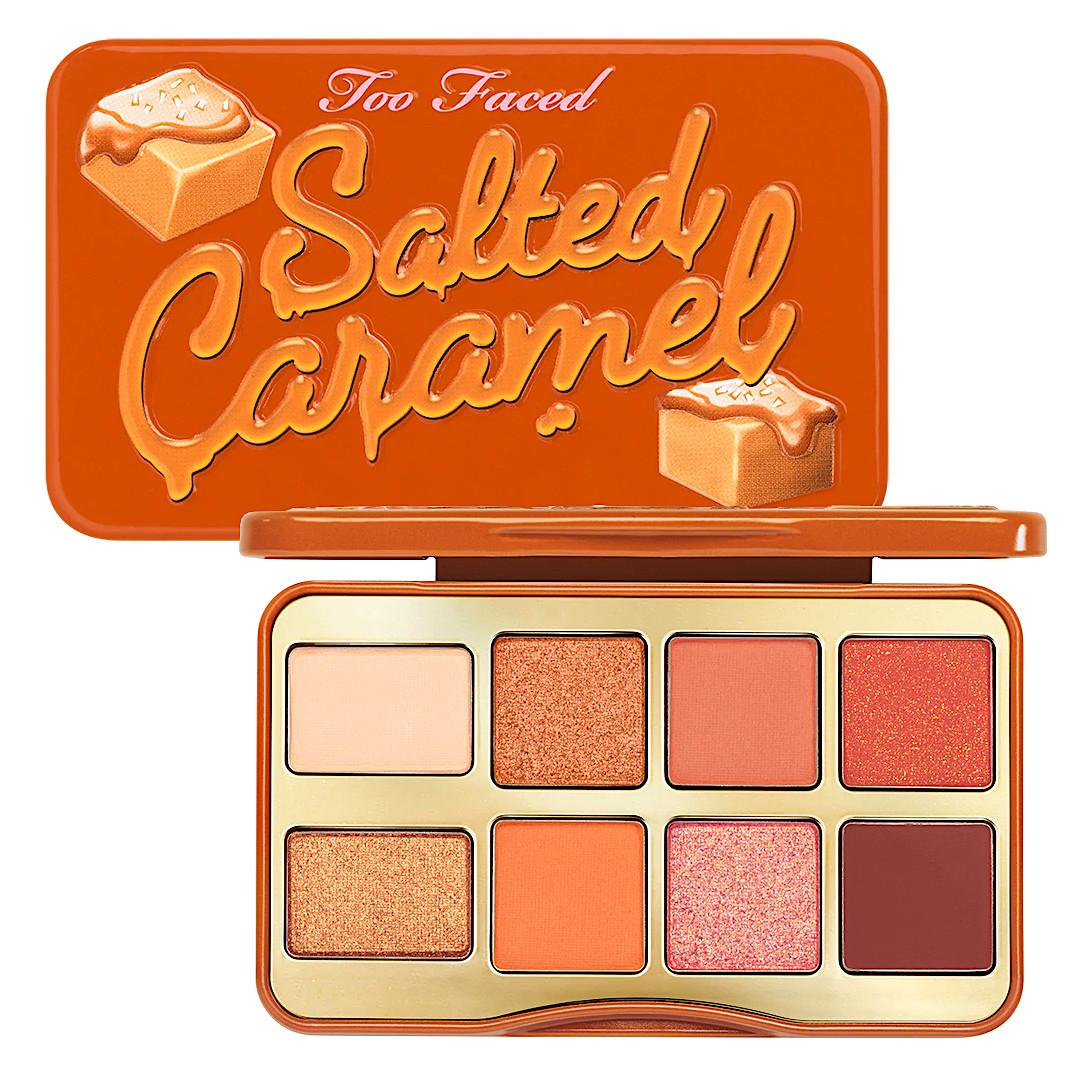 Too Faced Holiday 2020 Collection Part 1 Salted Caramel Mini Eye Shadow Palette Semi Open & Closed