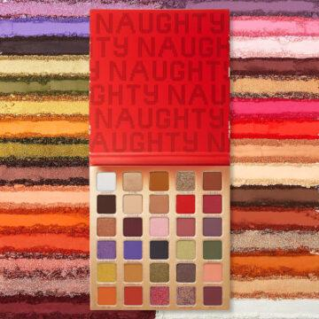 BH Cosmetics Holiday Collection 2020 Naughty 30 Color Shadow Palette Full Open With Crash Swatches