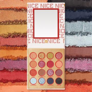 BH Cosmetics Holiday Collection 2020 Nice 16 Color Shadow Palette Full Open With Crash Swatches