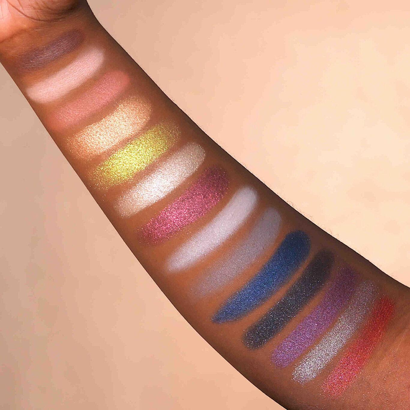 KVD Vegan Beauty Holiday Collection 2020 Edge of Reality Fully Recyclable Eyeshadow Palette Arm Swatches