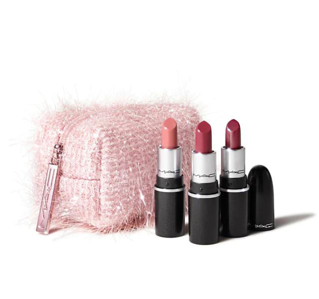 MAC Cosmetics Christmas 2020 Frosted Fireworks Collection Fireworked Like A Charm Mini Lipstick Kit in Pink