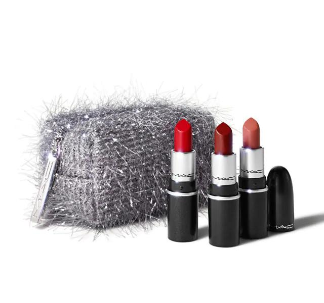 MAC Cosmetics Christmas 2020 Frosted Fireworks Collection Fireworked Like A Charm Mini Lipstick Kit in Red