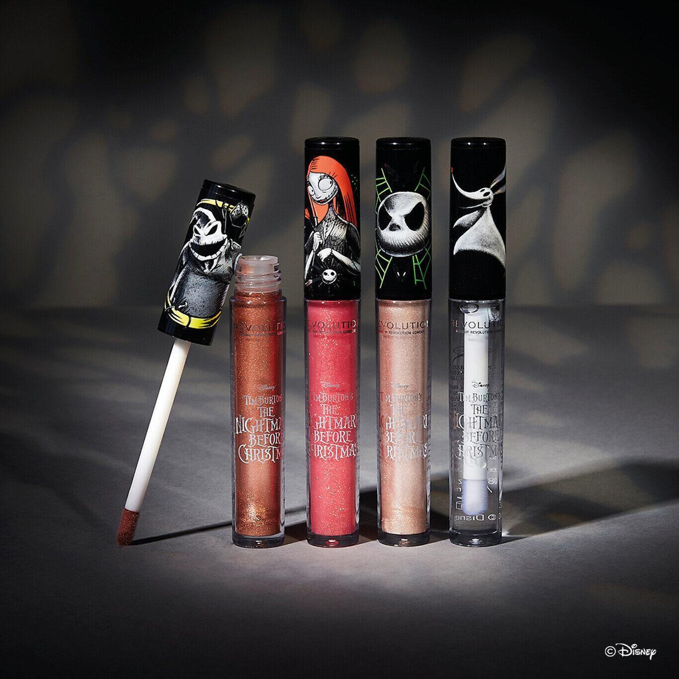 Makeup Revolution Disney Nightmare Before Christmas Lip Glosses Promo
