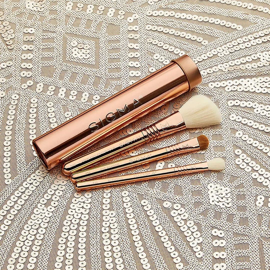 Sigma Beauty Rendezvous Holiday Collection Essential Trio Brush Set Rose Gold Promo
