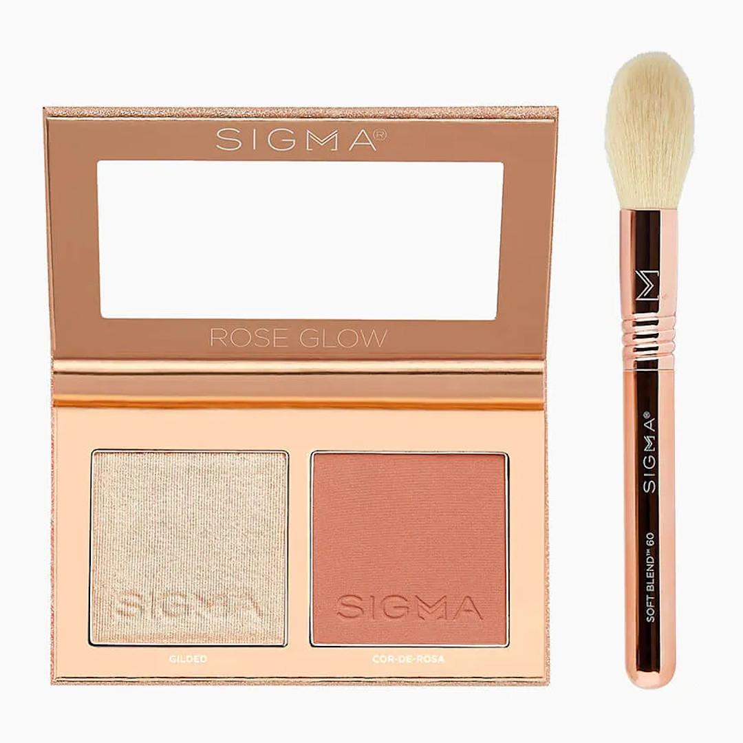 Sigma Beauty Rendezvous Holiday Collection Rose Glow Cheek Duo Open With Brush