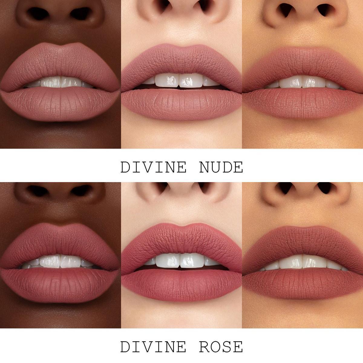 Pat McGrath Labs The Divine Rose II Collection Liquilust™ Legendary Wear Matte Lipstick In Divine Rose & Divine Nude Swatches