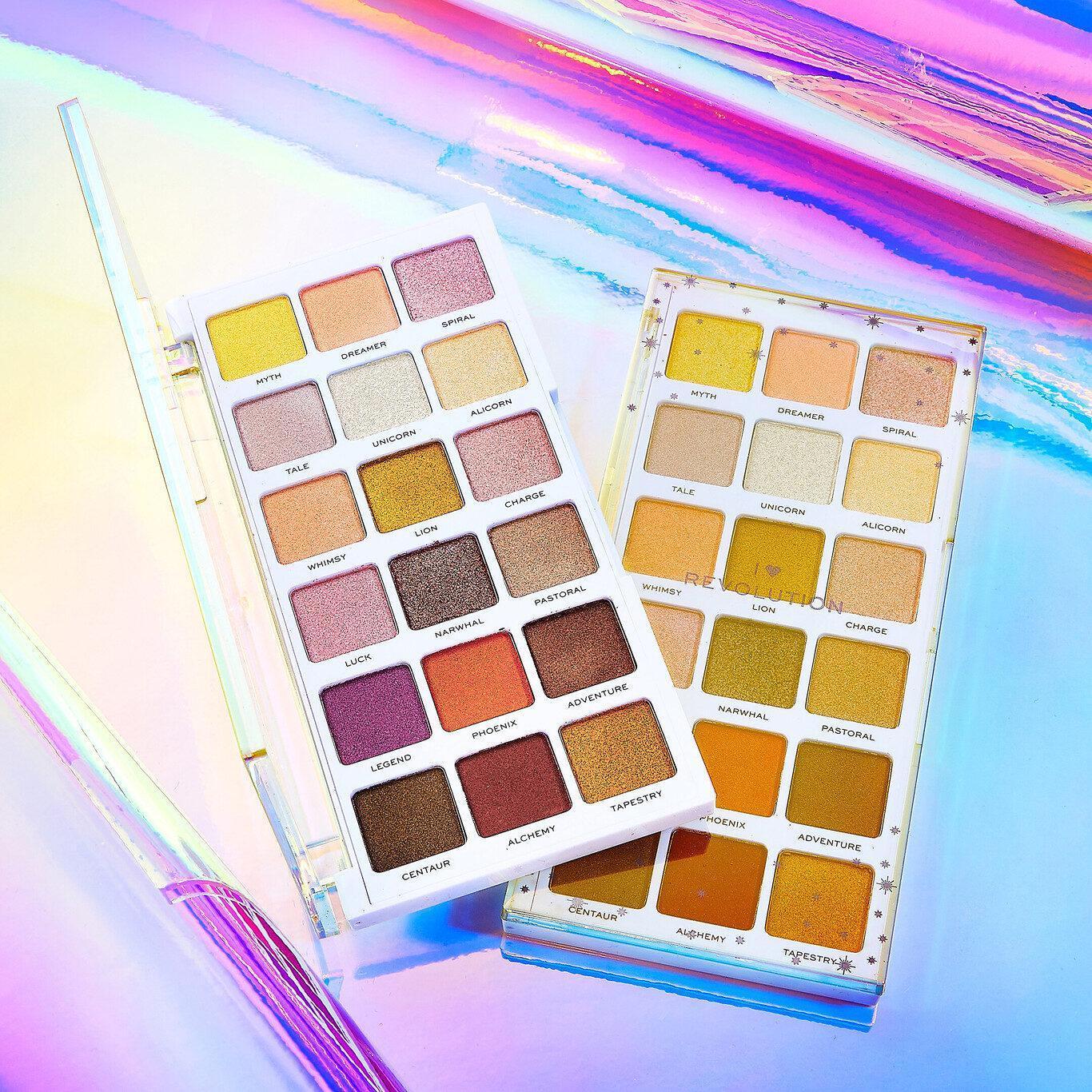 I Heart Revolution Unicorn Heart Glow Eyeshadow Palette Open & Closed Promo