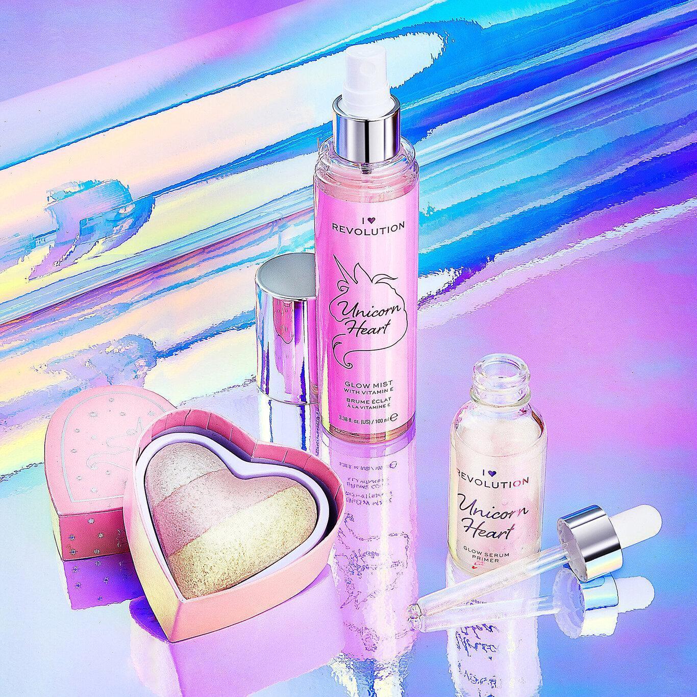 I Heart Revolution Unicorn Heart Glow Heart Highlighter, Serum Primer & Mist Setting Spray Promo